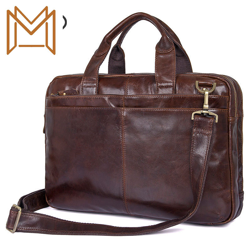 Man Head Layer Cowhide Handbag Oil Wax Business Affairs Package Cowhide Male Package