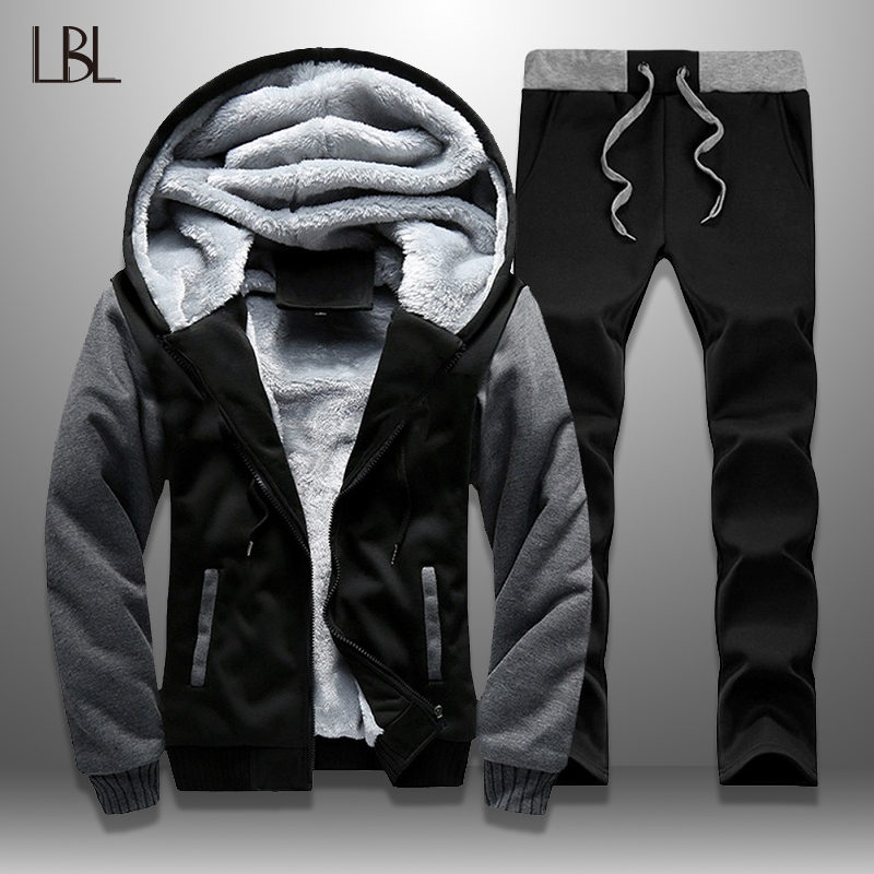 Russia Size Winter Tracksuits Men Set Thicken Fleece Hoodies + Pants Suit Warm Casual Men's Coats Hoodie Suits Fleece Jacket Men
