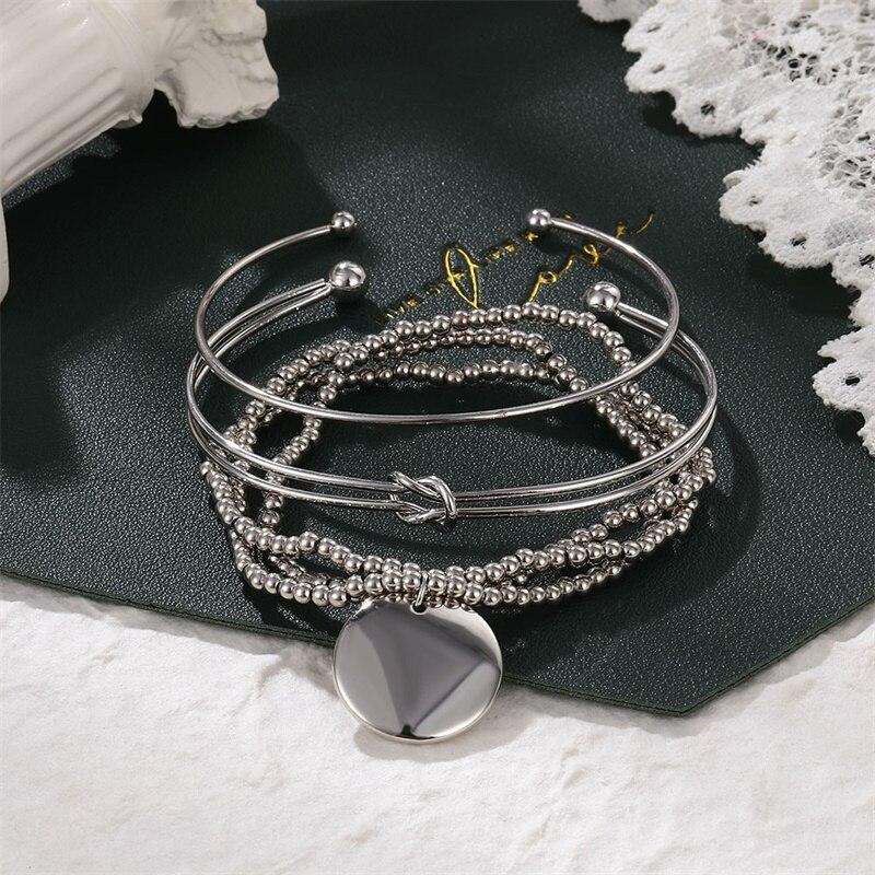 3Pcs/Set Trendy Double-layer Knotted Pendant Bracelet for Women Metal Beads Round Disc Bracelets Set Charm Wrist Chain Jewelry