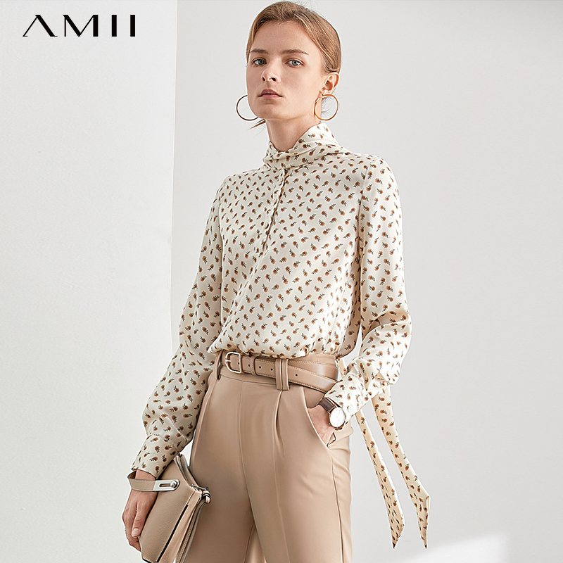 Amii Retro Polka Dot Blouse Women Sping Loose Bandage Long Sleeve Elegant Shirt 11940393