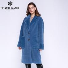 WINTER PALEIS 2019 vrouwen Nieuwe Wollen Jas Lange Pak Kraag Met 30% Wol Winter Warm klassieke stijl Bontjas wol Blend Meerdere