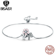 BISAER Authentic 925 Sterling Silver Femme Cherry Daisy Flower Women Link Chain Bracelet Fashion Jewelry GXB055
