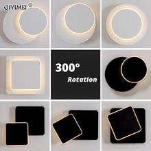 Kare LED duvar yatak odası için lamba oturma odası beyaz siyah aplik duvar ışıkları 360 derece dönebilen Metal 5W/16W fikstür