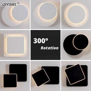 Image 1 - Lámpara de pared LED cuadrada para dormitorio, sala de estar, candelabro blanco y negro, luces de pared de 360 grados, accesorios de Metal giratorio de 5W/16W