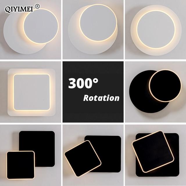 Lámpara de pared LED cuadrada para dormitorio, sala de estar, candelabro blanco y negro, luces de pared de 360 grados, accesorios de Metal giratorio de 5W/16W