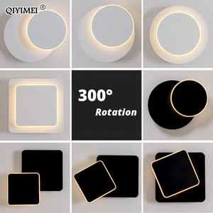 Image 1 - כיכר LED מנורת קיר לחדר שינה סלון לבן שחור פמוט קיר אורות 360 מעלות Rotatable מתכת 5W/16W גופי