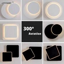 Quadrado conduziu a lâmpada de parede para o quarto sala estar branco preto arandela luzes parede 360 graus rotatable metal 5w/16w luminárias