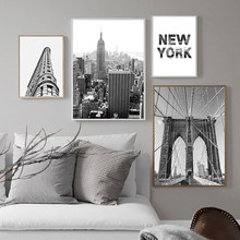 Black And White New York Wall Canvas Painting Minimalist Decorative Picture Live Paintings Landscape Poster