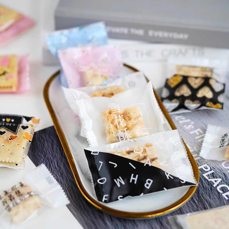 LBSISI vie 100 pièces mariage bonbons Biscuits sacs thermoscellables bonbons emballage sac écrou flocon de neige bricolage Biscuits pour fête d'anniversaire 7*10cm