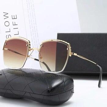 Gafas de sol sin montura de gran tamaño para mujer, anteojos de...
