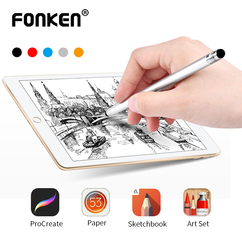 FONKEN Universal Smartphone Tablet Stylus For Drawing 2 In 1 Touch Pen For IPad Capacitive Screen Pencil