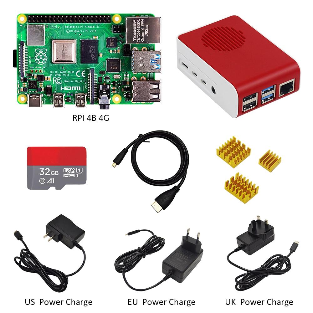 Originale Raspberry Pi4 Modello B Kit 4GB di RAM + custodia di trasporto con il ventilatore + EU/US/UK Tipo C 5 V/3A caricatore di Potere + cavo HDMI + 32G carta di TF + dissipatore di calore