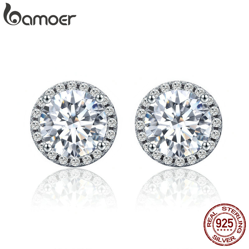 BAMOER Authentic 100% 925 Sterling Silver Dazzling Clear CZ Small Stud Earrings For Women Wedding Engagement Jewelry SCE358