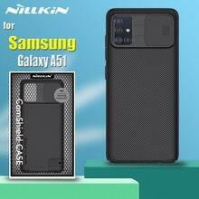 Para samsung a51 caso embalagem nillkin slide câmera proteção lente proteger privacidade à prova de choque capa para galaxy a51 coque funda
