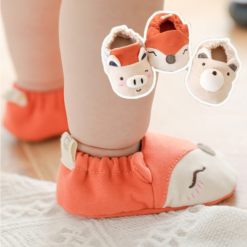 Baby First Walker Shoes Newborn Infant Non Slip Socks Shoes Soft Soles Boys Girls Summer Cotton Fox Socks Toddler Ankle Booties