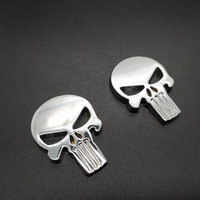 sticker motorcycle accessories 2 PCS Waterproof 3D Metal Emblem Badge Decal Sticker Punisher Skull Car Motorcycle Decoration Art Styling Tools Accessories (4)