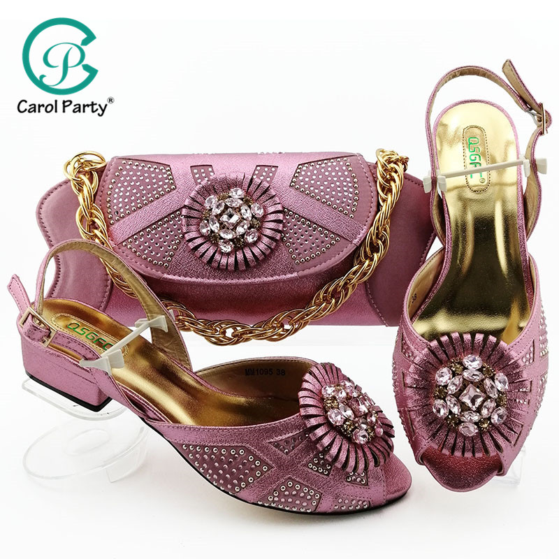 Hot Selling African Shoes And Bag Set Italian Design Matching Shoes And Bag Set Nigerian For Wedding Party In Pink Color