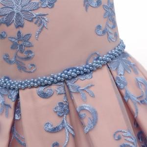 Image 4 - Vestido de fiesta de princesa con lazo de lujo para niña, vestidos de encaje con flores para niñas, ropa Formal de cumpleaños para niños, bata 7T