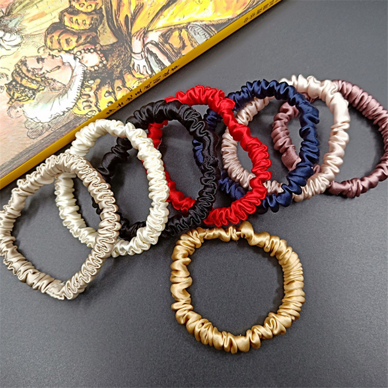 Free Shippping Fashion Women Sweet Small Pure Silk Hair Scrunchies Cute Gum OL Basic Hair Tie Ponytail Holder