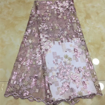 New arrival embroidery french net lace fabric 5 yards flower lace fabric  sequins  2JRB- 20.4503 for party dress