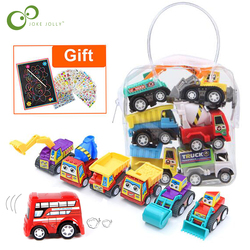 6Pcs Mini Truck Toy and Racing Toy Set Construction Vehicle Fire Truck Toys Educational Kid Toy Gifts Mini Toy Pull Back Car GYH