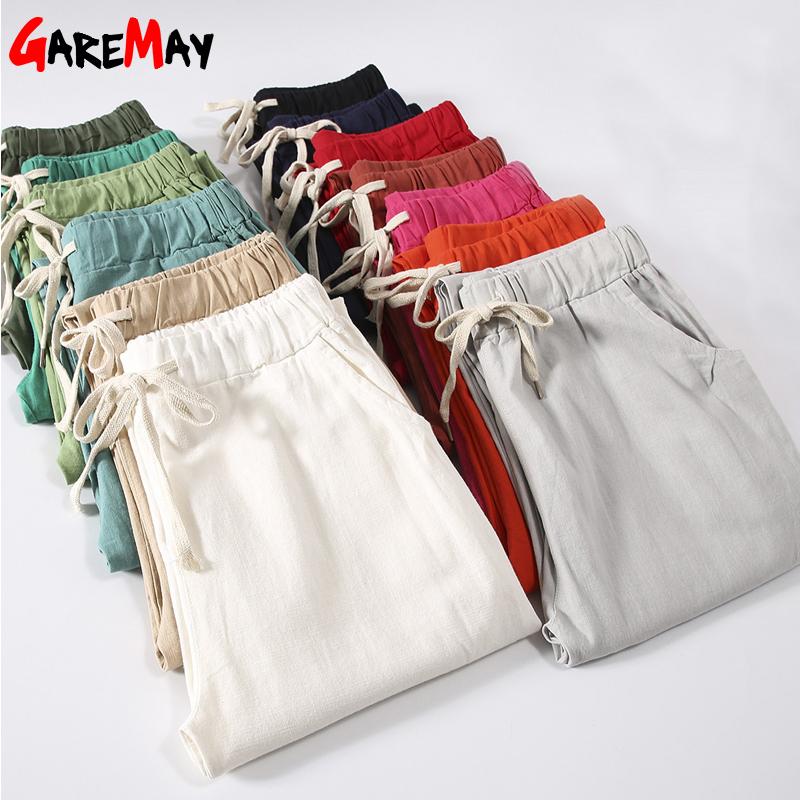 Garemay Cotton Linen Pants for Women Trousers Loose Casual Solid Color Women Harem Pants Plus Size Capri Women\'s Summer