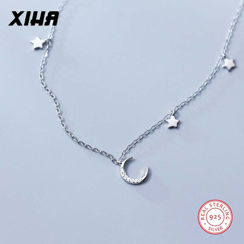 Crystal Crescent Moon Star Necklace Choker for Women Dainty Charm High Quality Necklaces Pendants for Kids Girls Fashion Jewelry