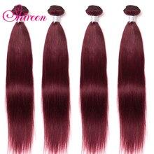 Shireen Brasileiro Cabelo Liso Bundles Tecer Vermelho Pré colored 3pcs Burgundy Wine Red 99j Extensão Do Cabelo Humano Remy tecelagem do cabelo