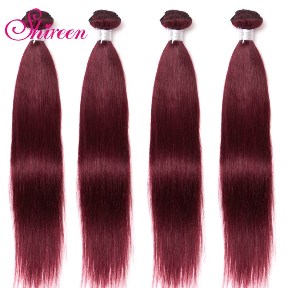 Shireen Brazilian Straight Hair Bundles Red Weave Pre-colored 3pcs Burgundy Red Wine 99j Human Hair Extension Remy Hair Weaving