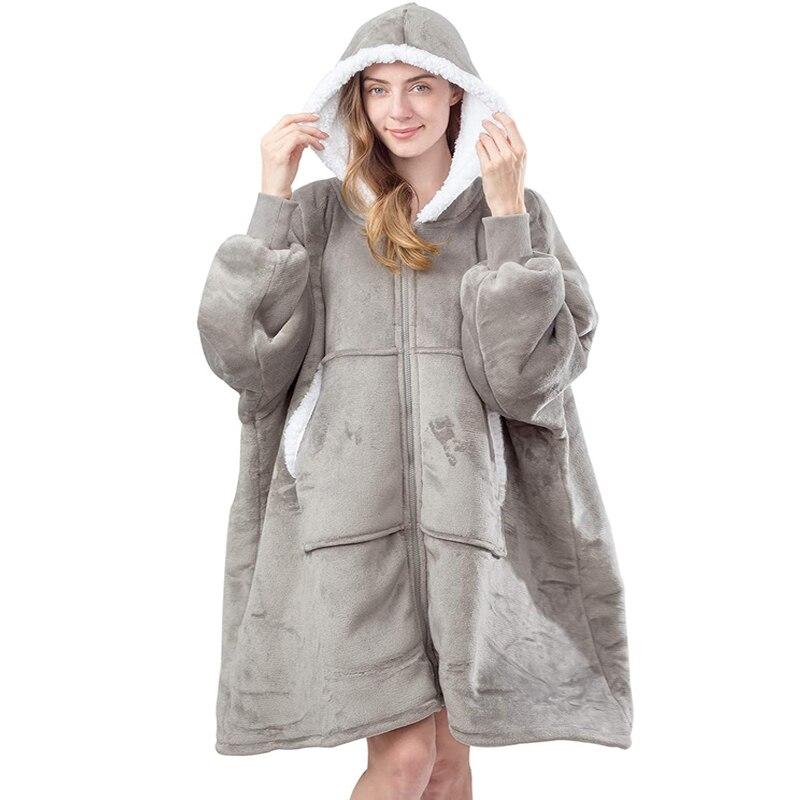 Übergroßen Hoodie Sweatshirt Frauen Fleece Riesen TV Decke mit Ärmeln Hoodies Frauen Sweatshirts Winter Kleidung