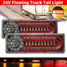 2pcs 24V LED Dynamic LED Car Truck Tail Light Turn Signal Lmap Rear Indicator Brake Lights for Lorry Trailer Van Caravan Bus