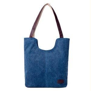 Image 5 - Sac à main en toile de couleur unie, sac à main marque de luxe, sacs à main de bonne qualité, sacs de Shopping en coton grande capacité automne et hiver