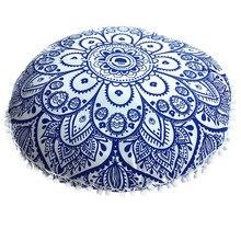 Nueva funda de cojín Bohemia redonda cojines para el suelo con Mandala indio fundas de almohada Vintage funda de cojín de estilo coche para decoración del hogar #