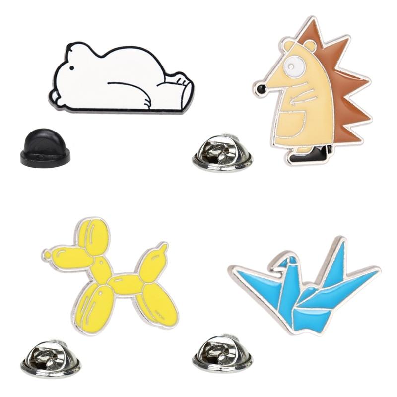 Pins cartoon animal thousand paper crane polar bear brooch accessories wild student hedgehog balloon dog metal badge