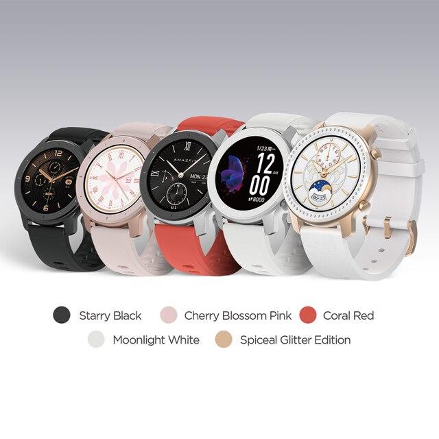 [Корабль из России] глобальная версия Amazfit GTR 42 мм умные часы 12 дней аккумулятор 5ATM женские часы GPS управление музыкой для Android