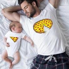 Забавная семейная одежда для папы и сына; Семейные комплекты; Футболка с принтом пиццы для папы, мамы, детей; Комбинезон для маленьких QT-1925