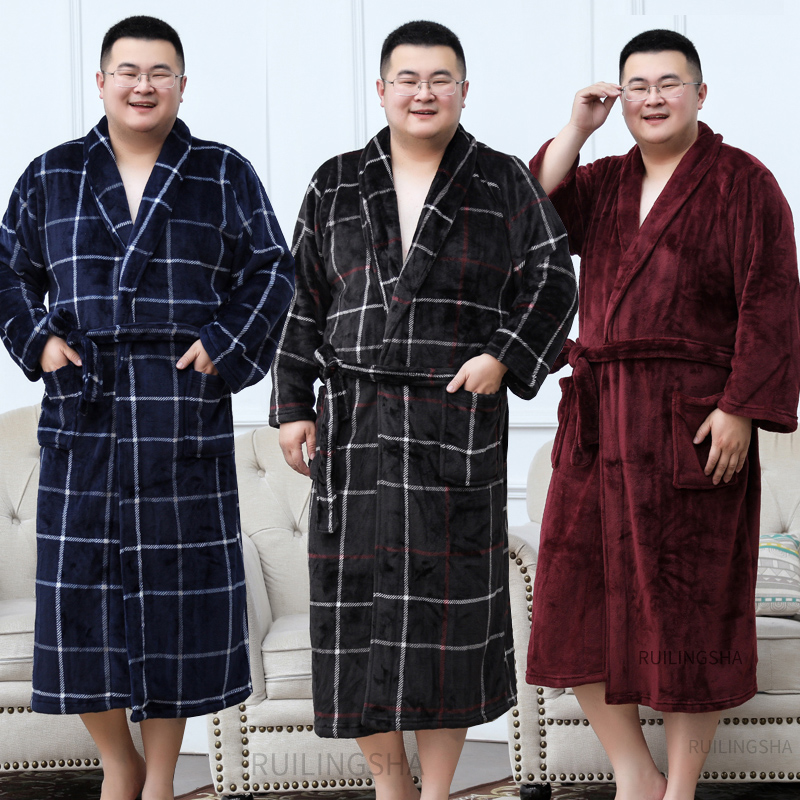 Men Plus Size Warm Flannel Bathrobe 40-130 KG Men Winter Coral Fleece Bath Robe Night Sleepwear Women Dressing Gown Cozy Robes