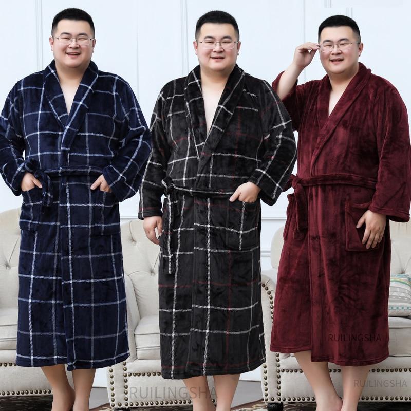 Men Plus Size Warm Flannel Bathrobe 40-130 KG Men Winter Coral Fleece Bath Robe Night Sleepwear Women Dressing Gown Cozy Robes