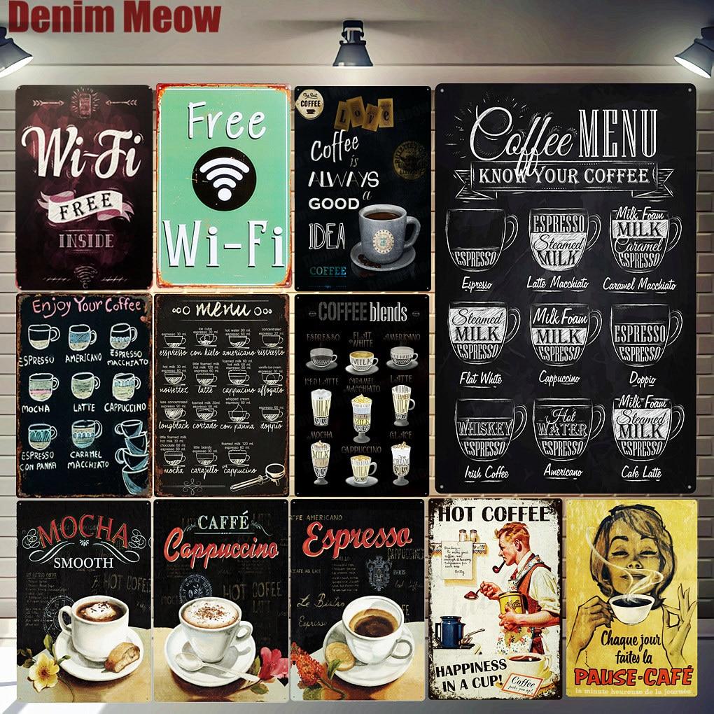 Free WIFI Shabby Chic Home Bar Cafe Vintage Wall Decor Metal Tin Signs Pub Tavern Retro Decorative Plate Coffee Menu Poster A755