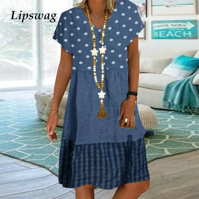 Vintage Short Sleeve Beach Dress Casual Polka Dot And Plaid Patchwork Print Dress Summer Sexy V Neck Women Party Dress Vestidos