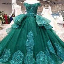 Robe longue en dentelle, robe de soirée de standing, robe de bal, LSX006, modèle fleuri, au dos, modèle émeraude, modèle à lacets, photo réelle