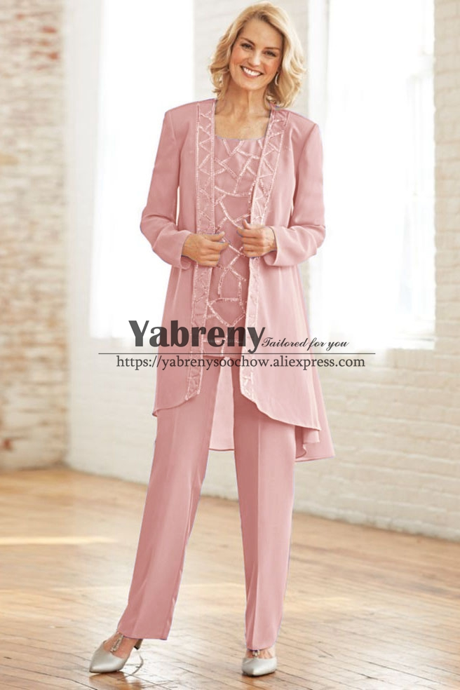 Pink Chiffon 3PC Mother Of The Bride Pant Suit Dress With Jacket