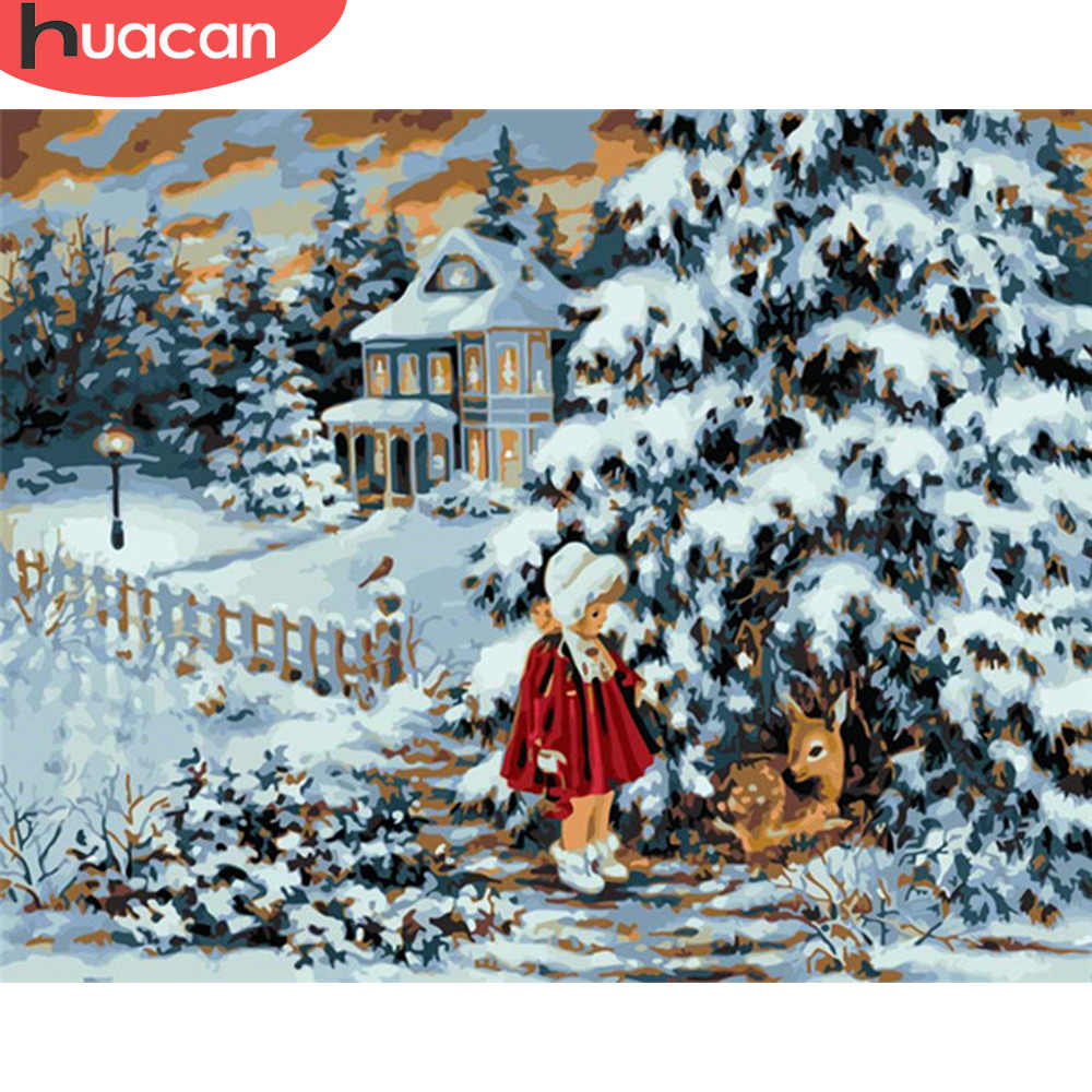 Winter Christmas Landscape Paint By Numbers Kit DIY Number Canvas Painting Oil