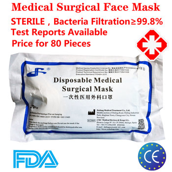 80pcs Earloop Sterile Disposable Surgical Medical Face Mask 3 Layers Meltblown Non-woven Surgical Medical Mouth Mask Face Mask
