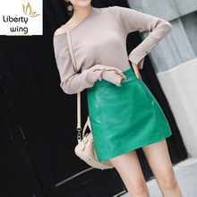 Hot Selling Sexy Bandage Sheepskin Autumn Fashion Clothes For Ladies Zipper High Waist Leather Skirt Women Green Red(China)