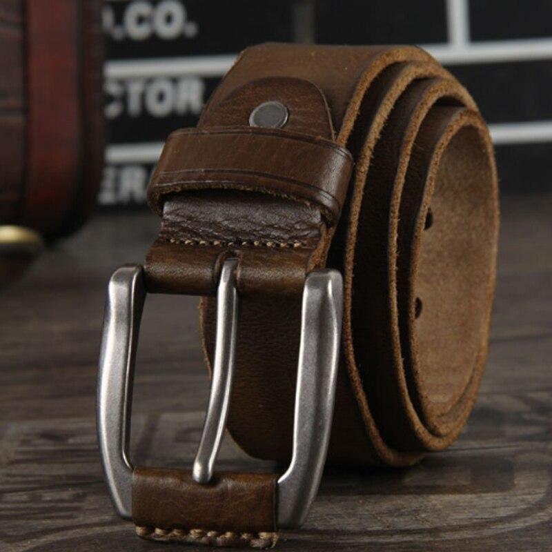 Nouvelle ceinture vintage en cuir véritable pour hommes ceintures en cuir de vachette marron couleur ceintures jeans sangle longue cinto