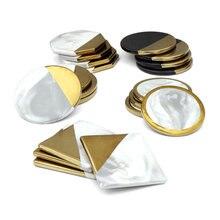 Posavasos de cerámica chapados en oro y mármol, set de 4 unidades de posavasos de porcelana geométricos, alfombrilla impermeable con aislamiento térmico, Decoración de mesa