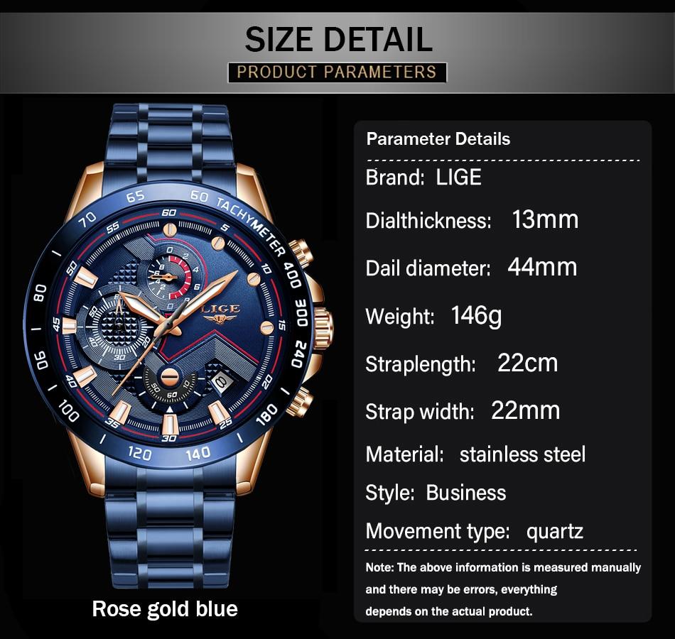H1ae1adb72362457799caff70588844c0N LIGE Men Watches Top Brand Luxury Stainless Steel Blue Waterproof Quartz Watch Men Fashion Chronograph Male Sport Military Watch
