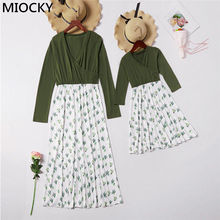 Mom and Daughter dress Autumn 2019 New Mommy Me Dresses Print Long sleeve Family Matching Clothes Mother E0310