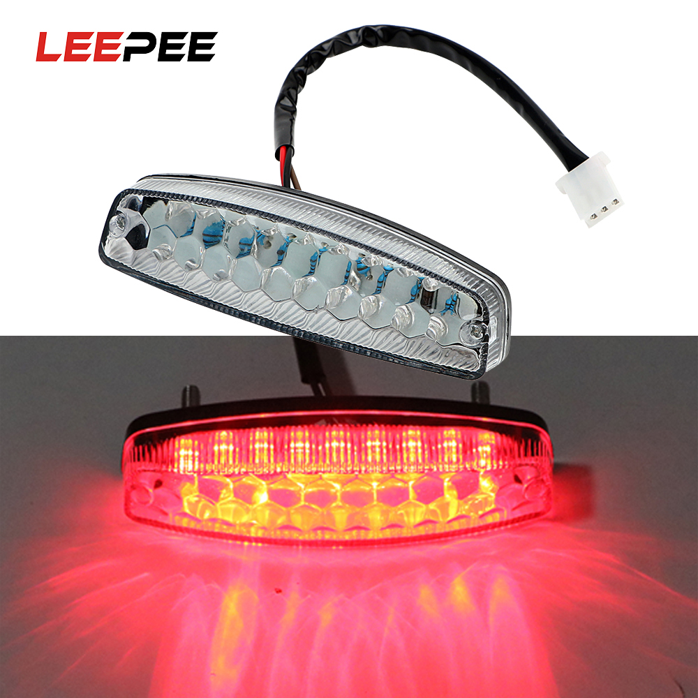 LEEPEE Moto Tail Brake Light LED Rear Lights Cafe Racer Indicator Lamp Motorcycle Lighting For ATV Quad Kart